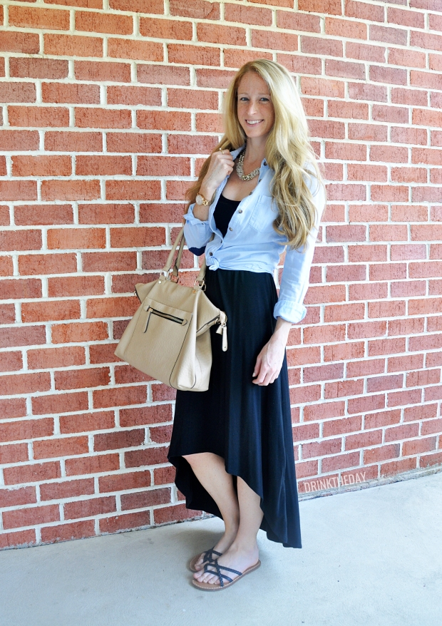 Chambray shirt & black maxi dress